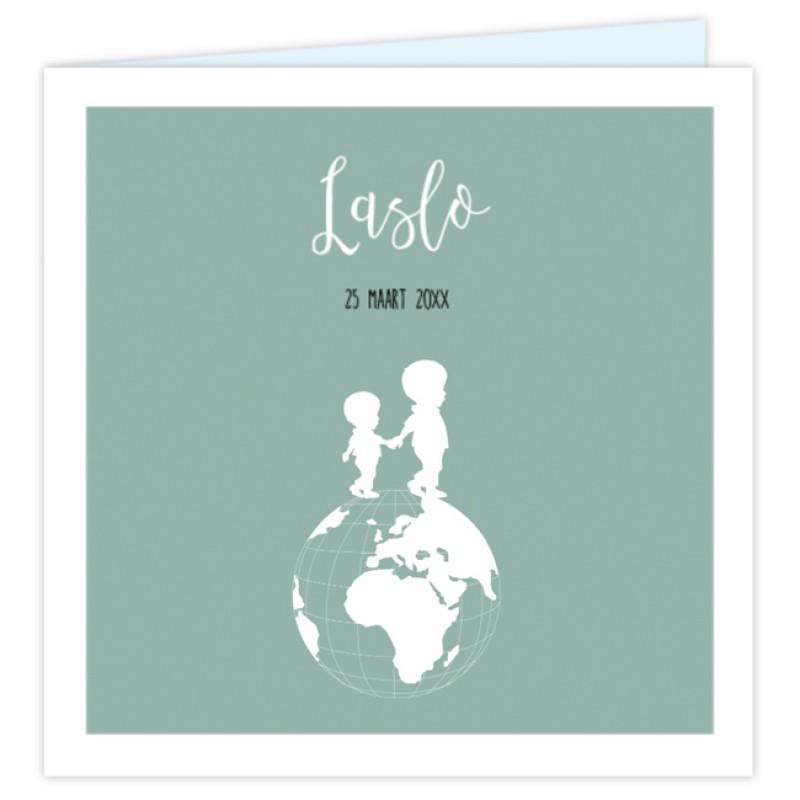 Geboortekaartje Geboortekaart wereldbol