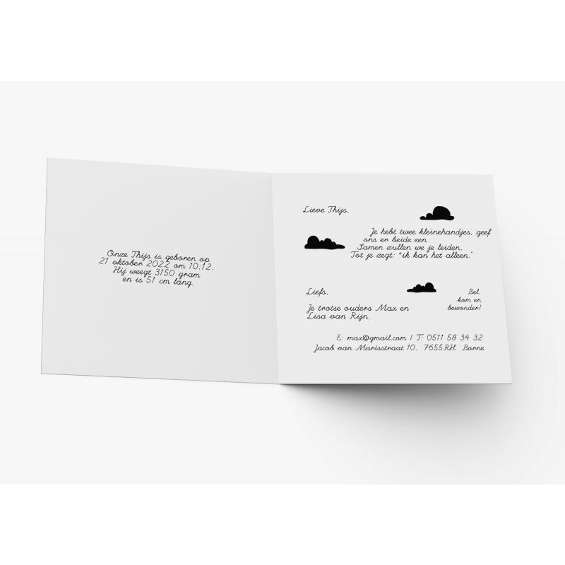 Geboortekaartje Geboortekaart zwart wit