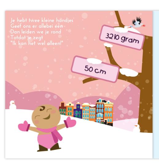 Geboortekaartje Geboortekaartje met sneeuw