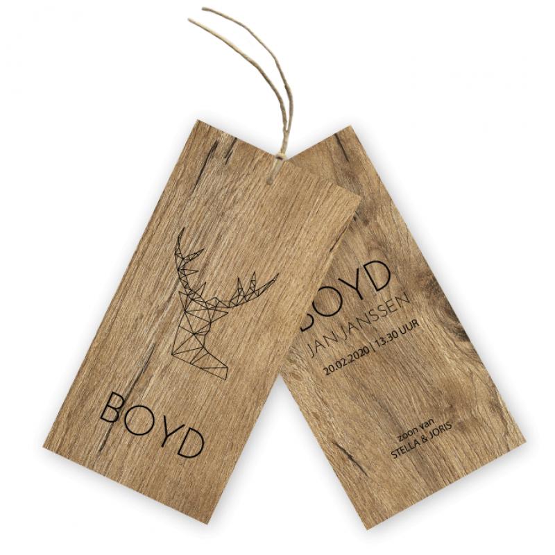 Geboortekaartje Geboortelabel hout Boyd