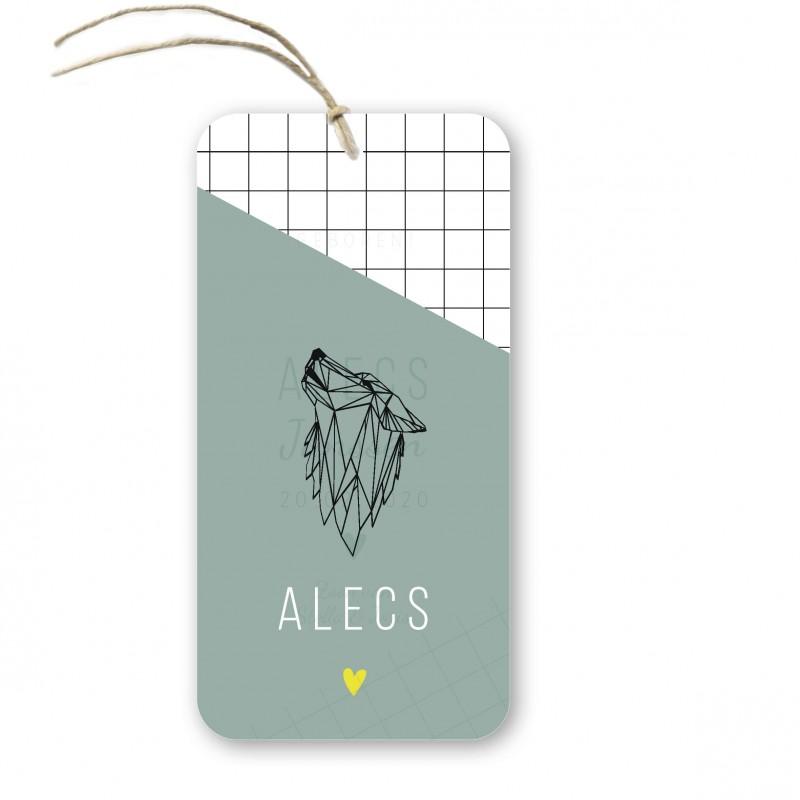 Geboortekaartje Geboortelabel kalk Alecs
