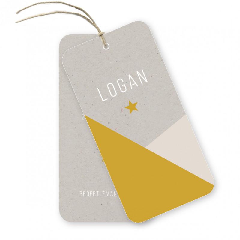 Geboortekaartje geboortelabel Logan