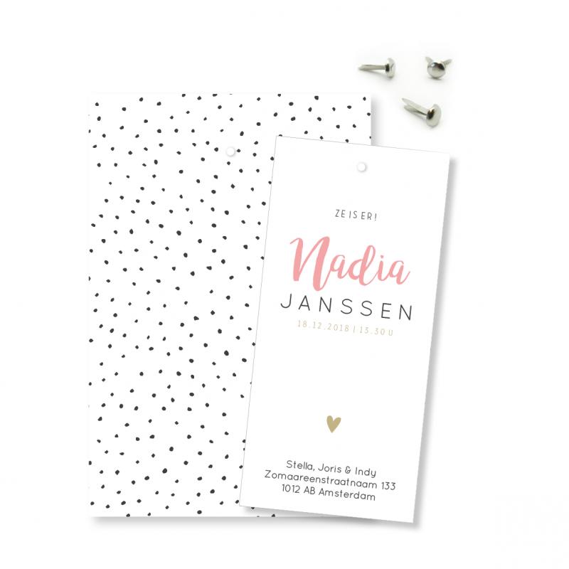 Geboortekaartje Geboortelabel - Nadia
