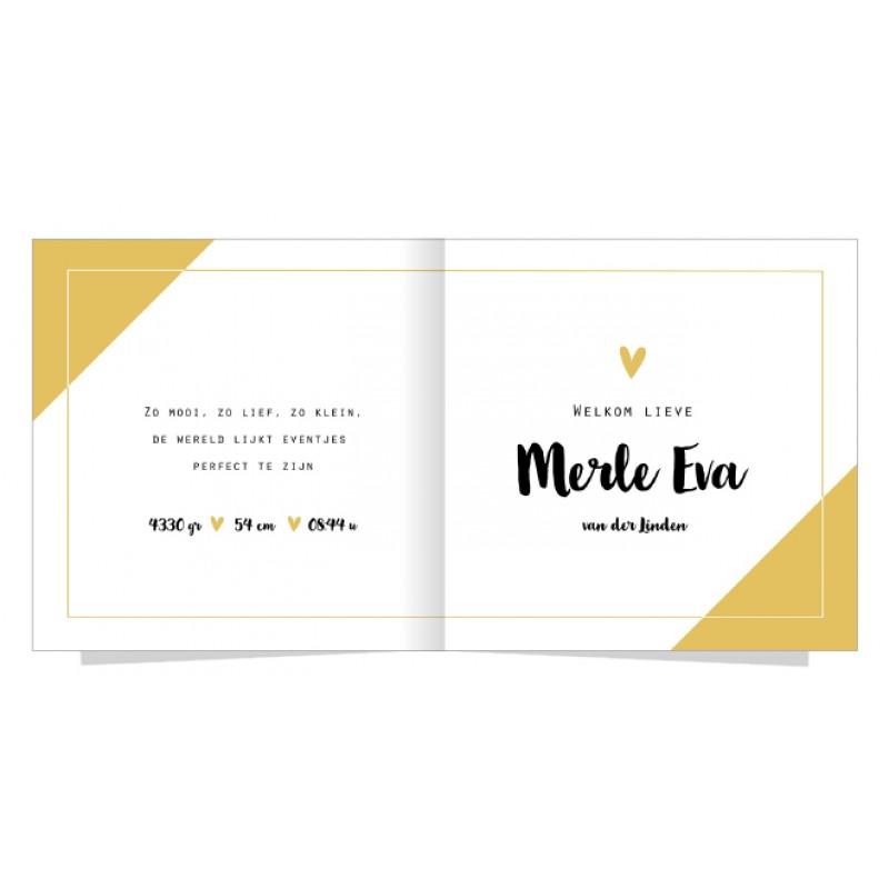 Geboortekaartje Geel vlak en hartje
