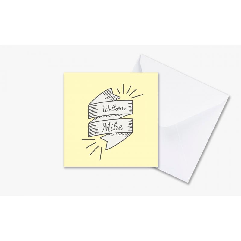 Geboortekaartje Gele kaart met foto jongen