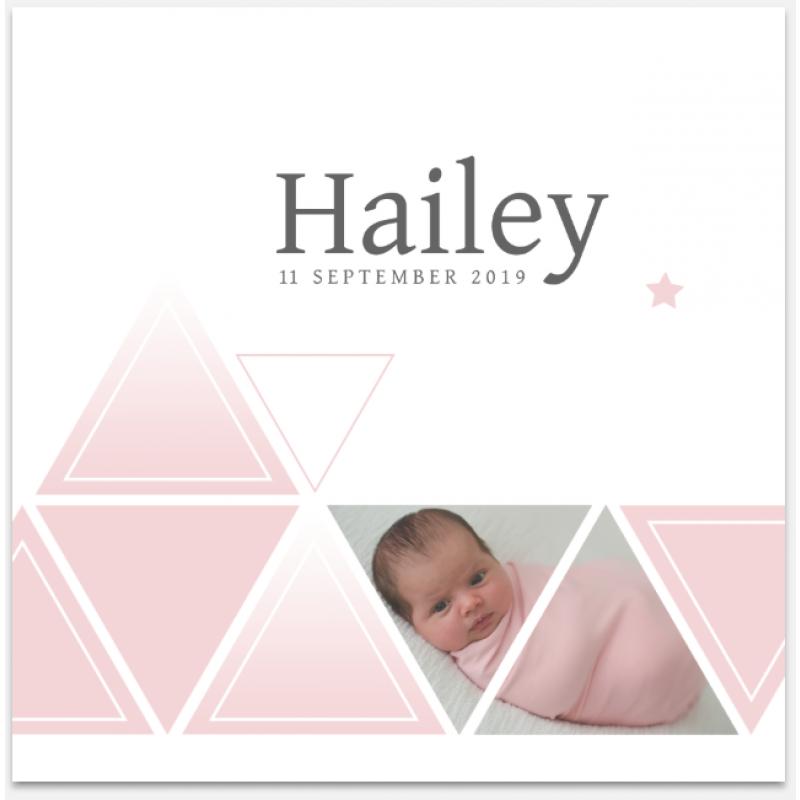 Geboortekaartje Geometrie met foto