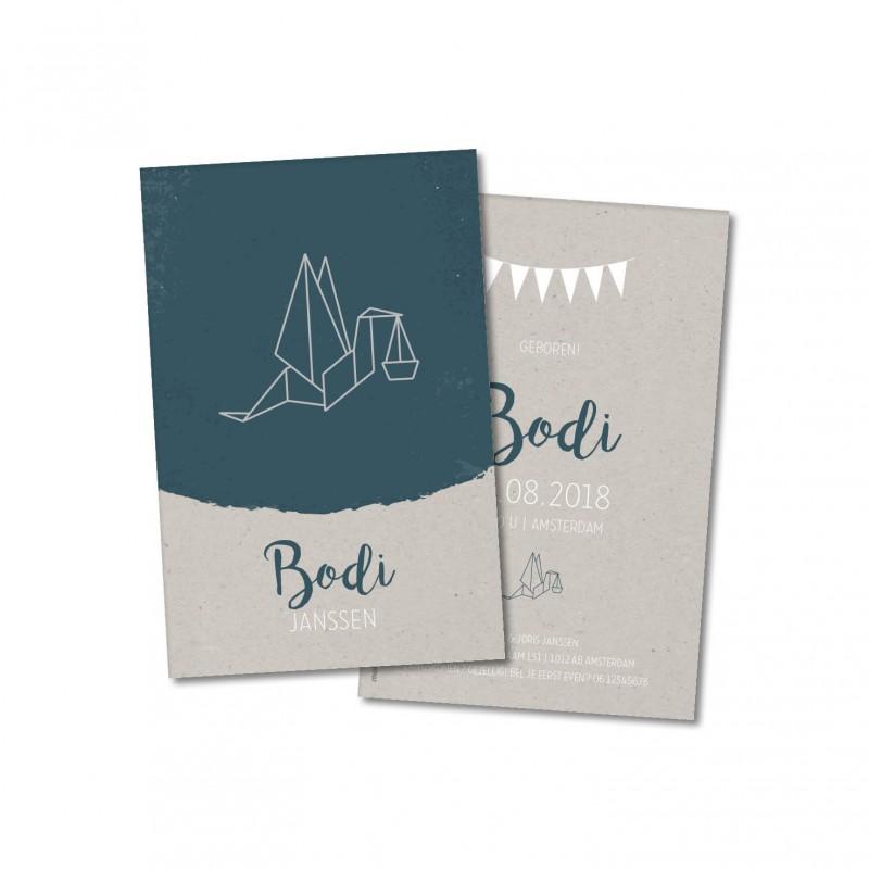 Geboortekaartje Geometrische ooievaar Bodi