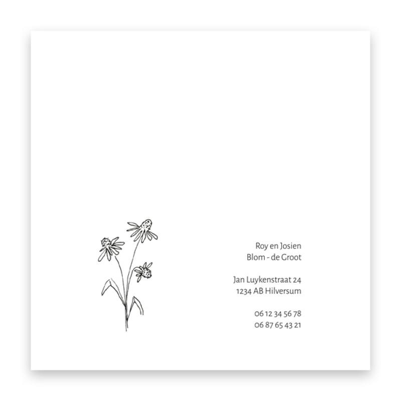 Geboortekaartje Getekende bloem