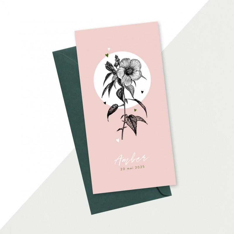 Geboortekaartje Getekende bloem en hartjes