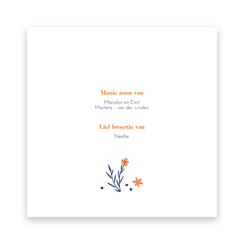Geboortekaartje Getekende bloemen