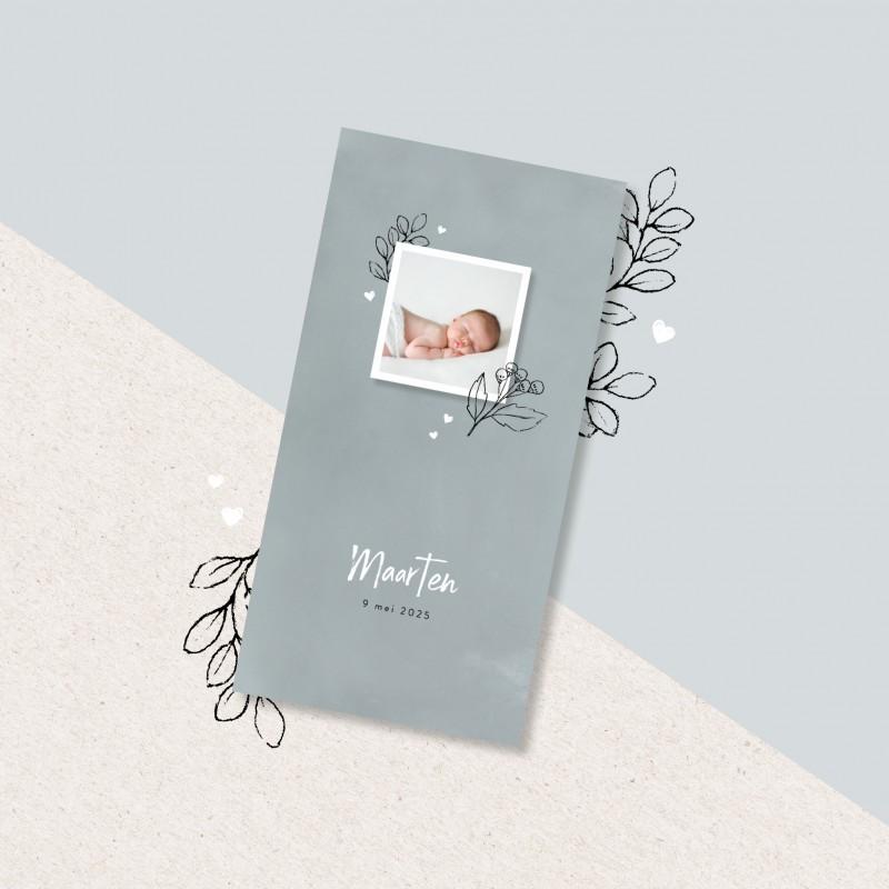 Geboortekaartje Getekende bloemen met foto