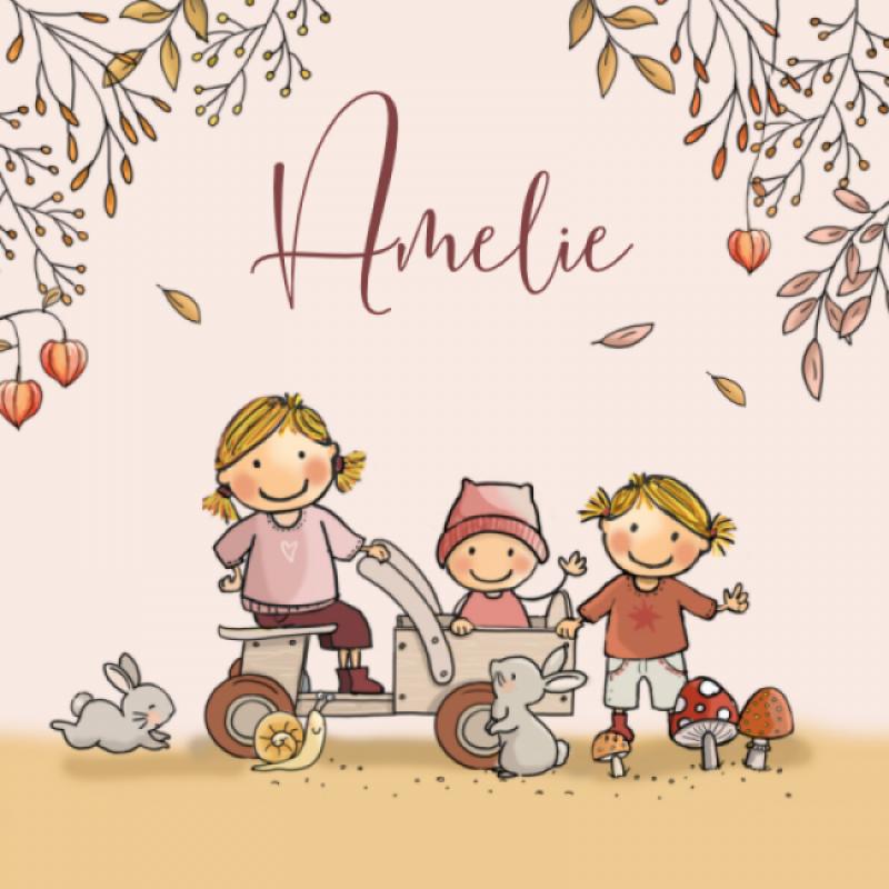 Geboortekaartje gezin herfst zusjes