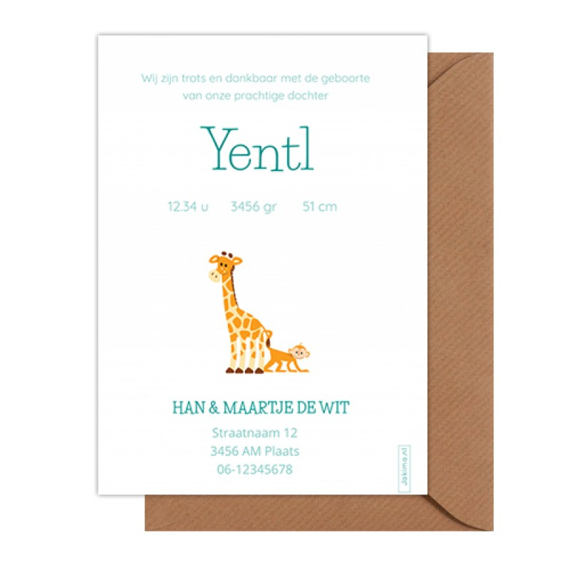 Geboortekaartje Giraf en aapjes