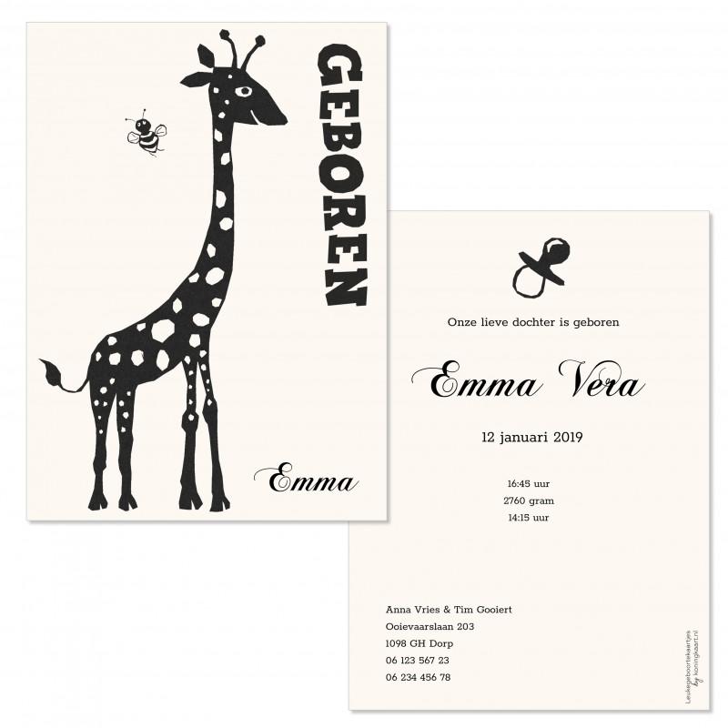 Geboortekaartje Giraf in silhouet