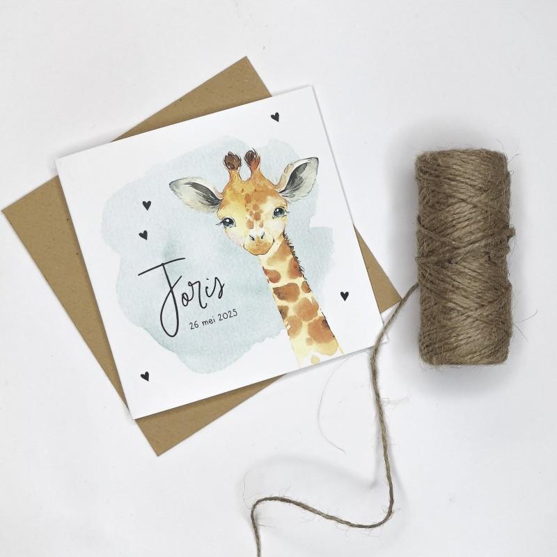 Geboortekaartje Giraf met groene waterverf