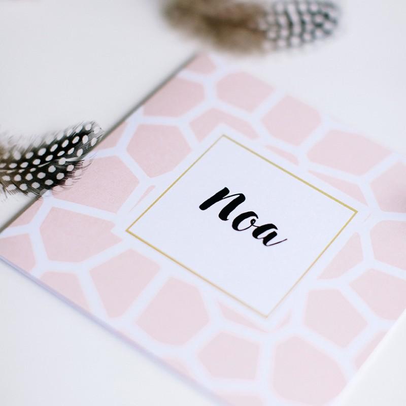 Geboortekaartje Giraffe print roze
