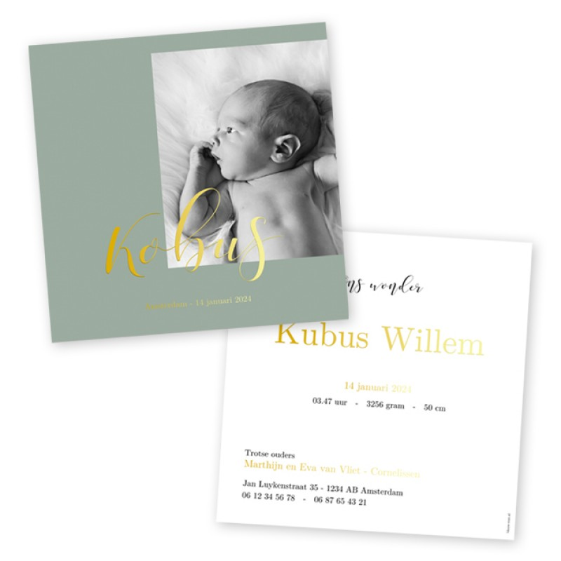 Geboortekaartje Goudfolie en foto