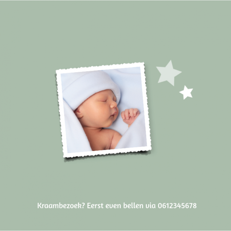 Geboortekaartje Goudfolie met sterren