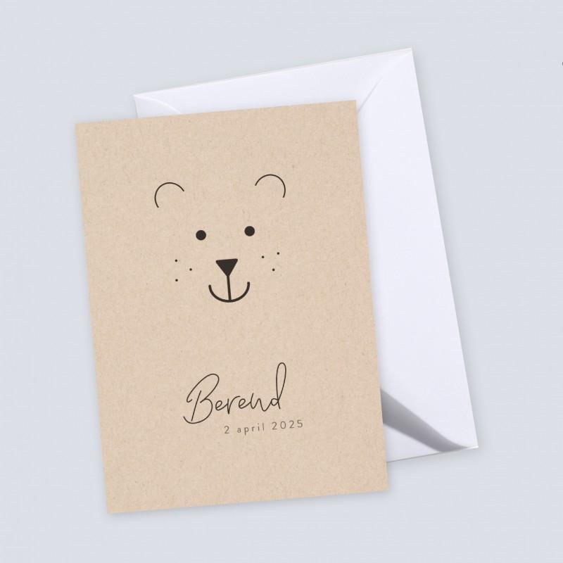 Geboortekaartje Grafisch met beer