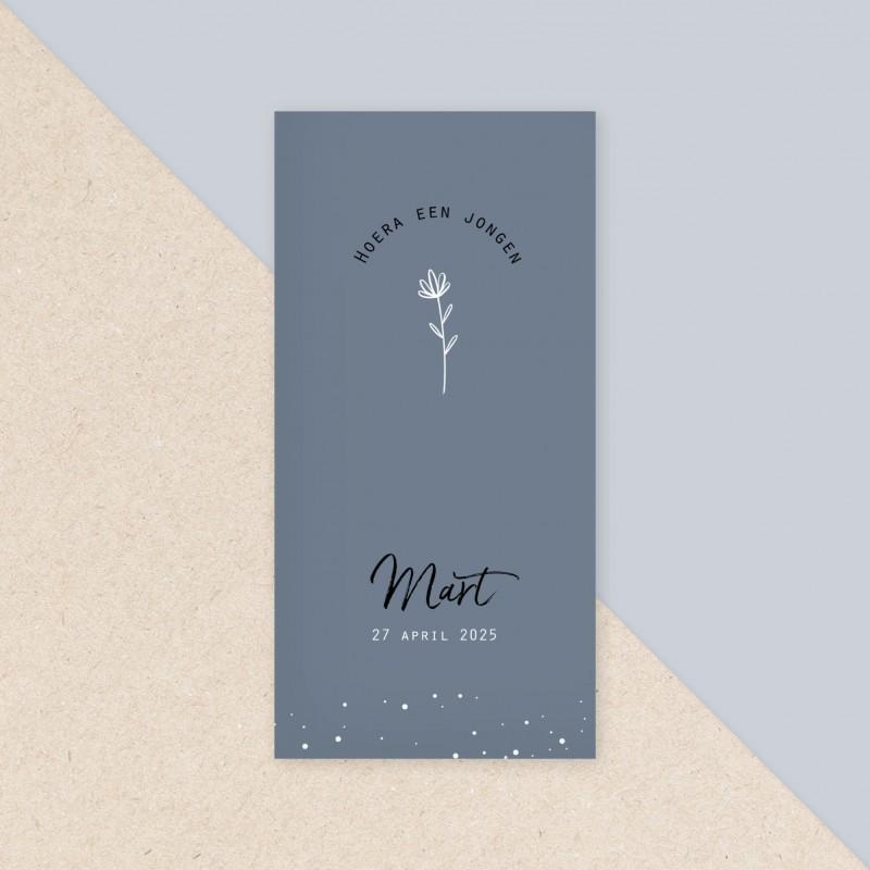 Geboortekaartje Grijsblauw met bloem
