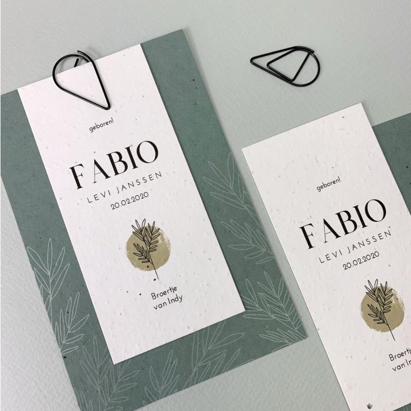 Geboortekaartje Groeipapier label Fabio