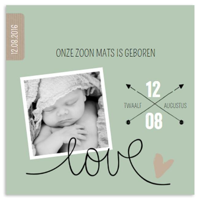Geboortekaartje Groen krijtpijlen en foto