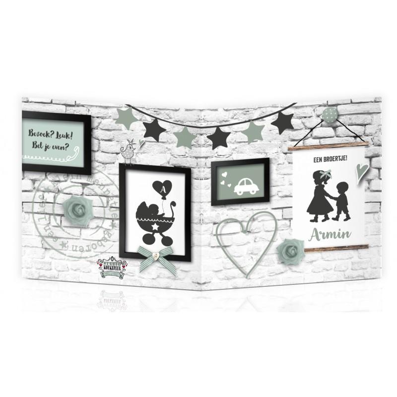 Geboortekaartje Groen stoere muur