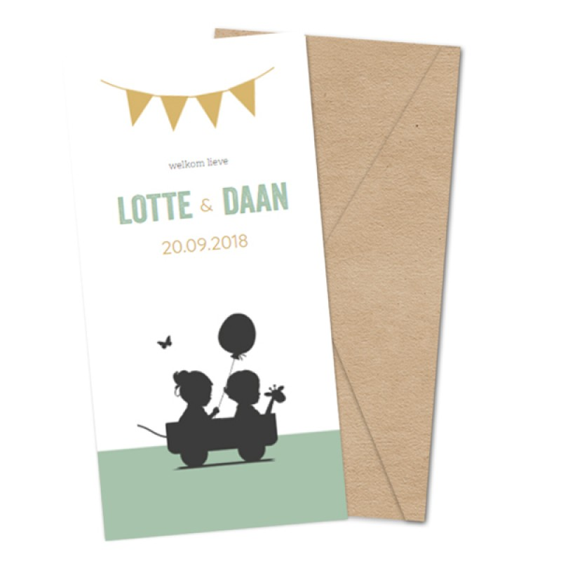 Geboortekaartje Groen tweelingkaartje