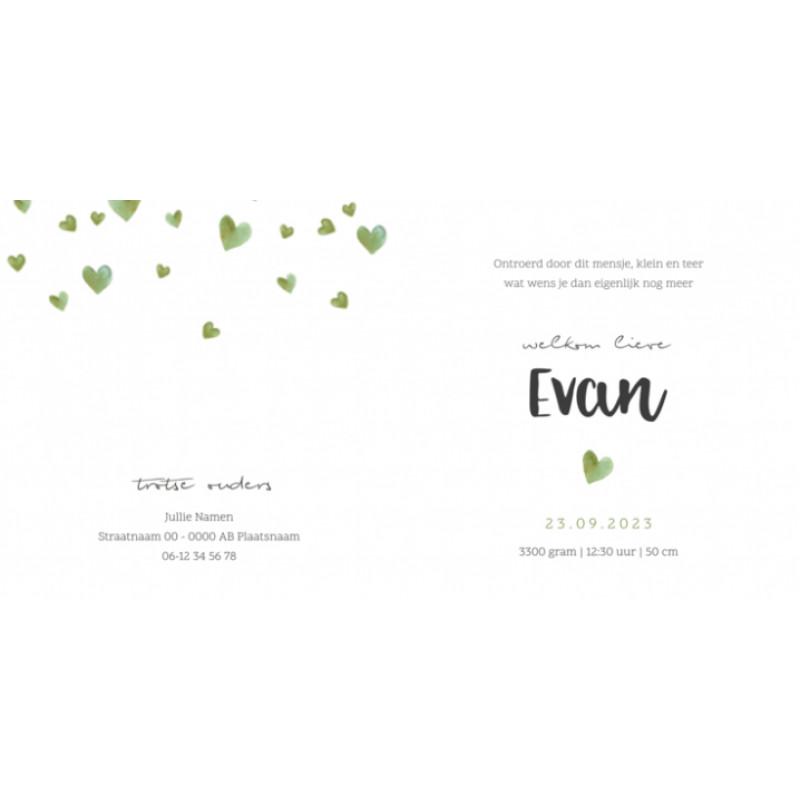 Geboortekaartje Groen waterverf hartjes