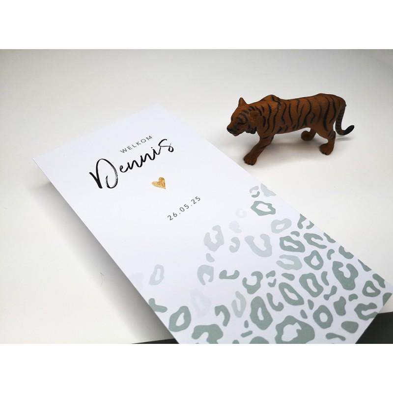 Geboortekaartje Groene panterprint