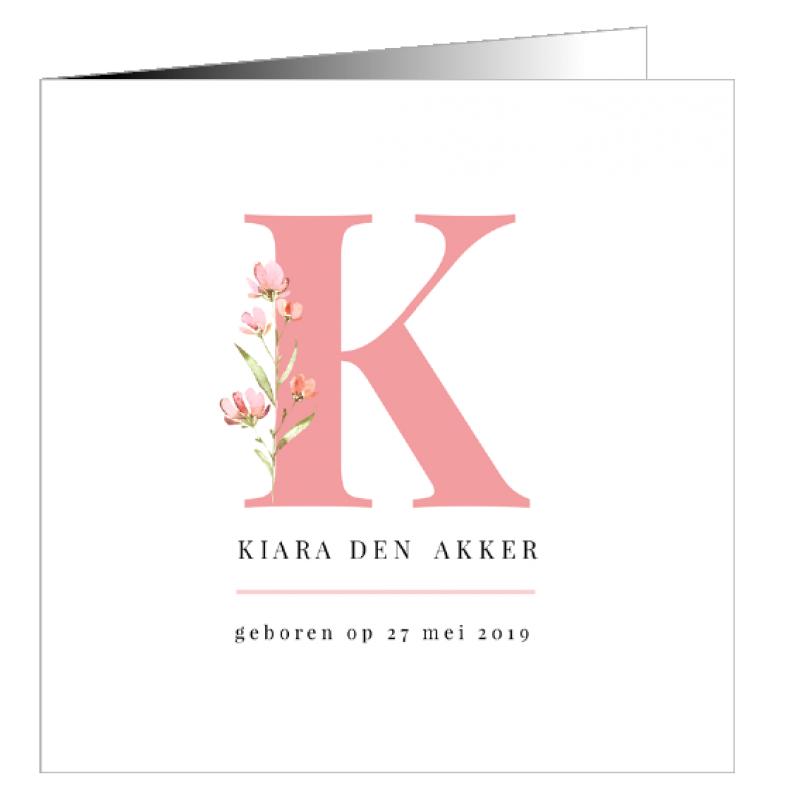 Geboortekaartje Grote letter en bloem