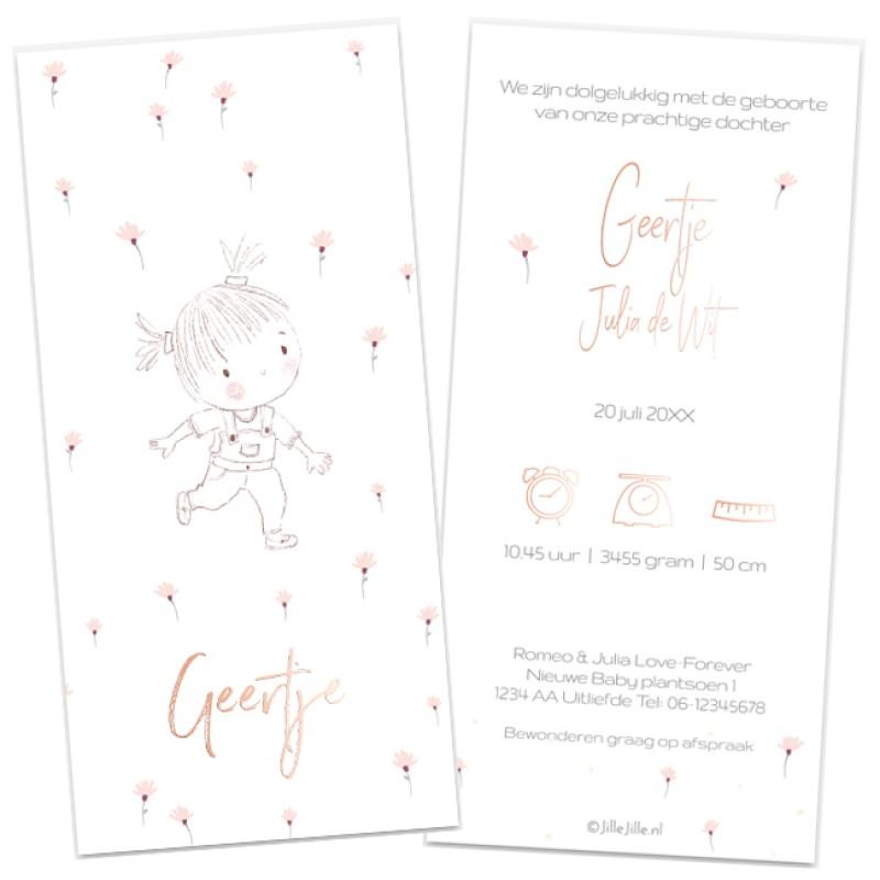 Geboortekaartje Handgetekende meisje bloem