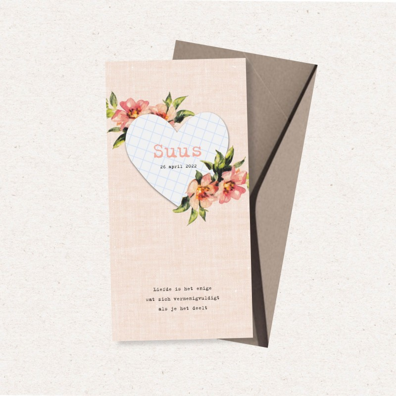 Geboortekaartje Hart en bloemen