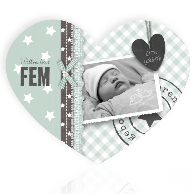 Geboortekaartje Hart met foto