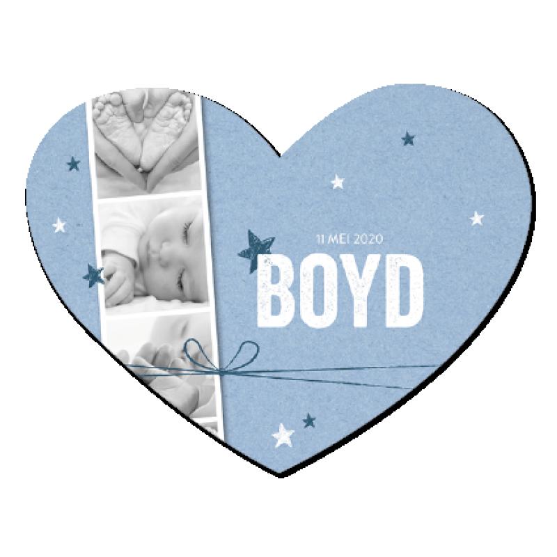 Geboortekaartje Hartje met polaroidstrip