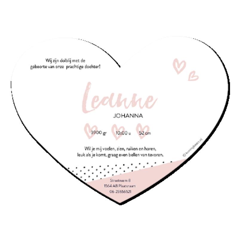 Geboortekaartje Hartje met roze vlakken