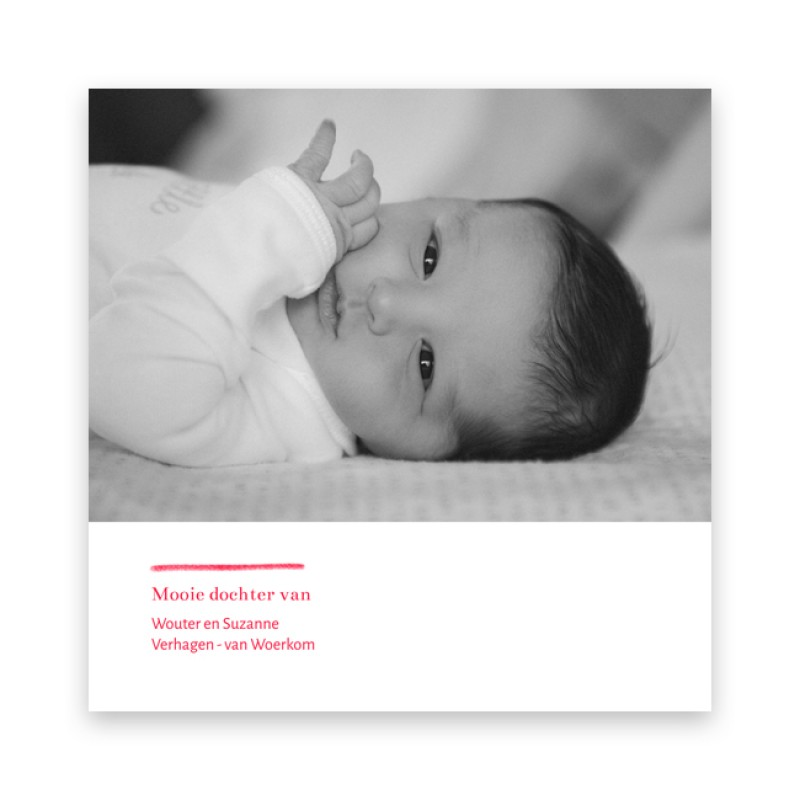 Geboortekaartje Hartje - typo - roze