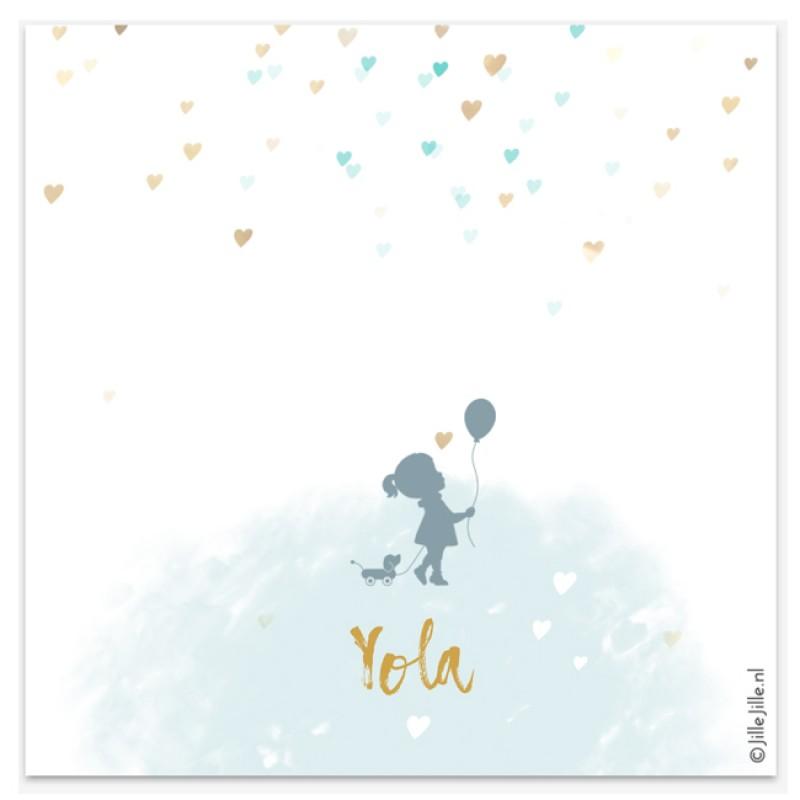 Geboortekaartje Hartjes kaartje confetti