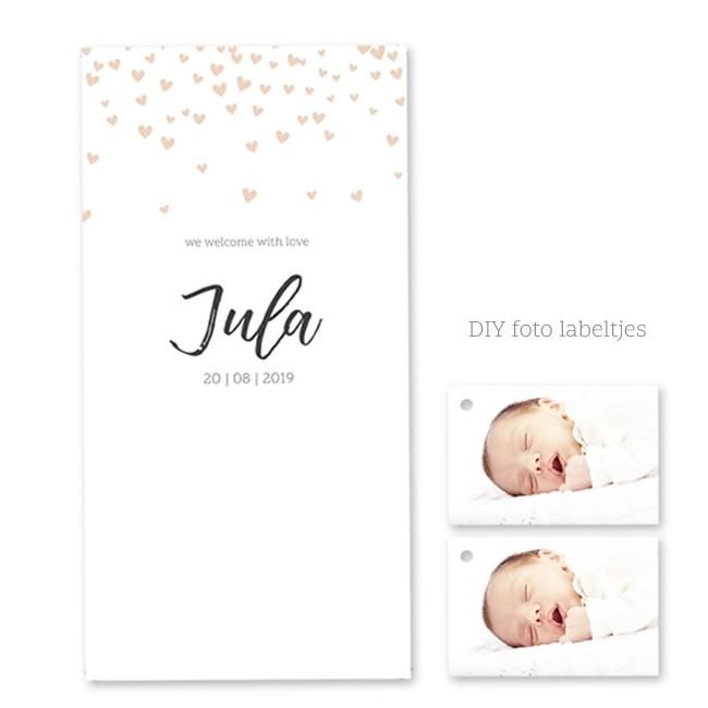 Geboortekaartje Hartjes met fotolabel