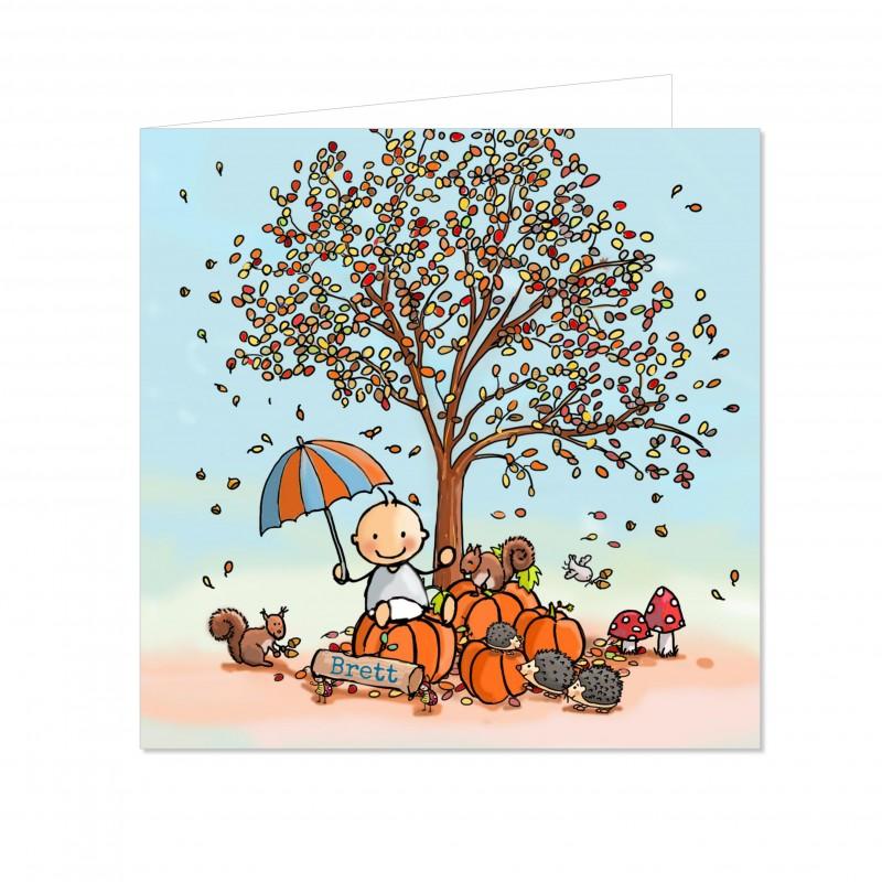 Geboortekaartje Herfst jongen met pompoen