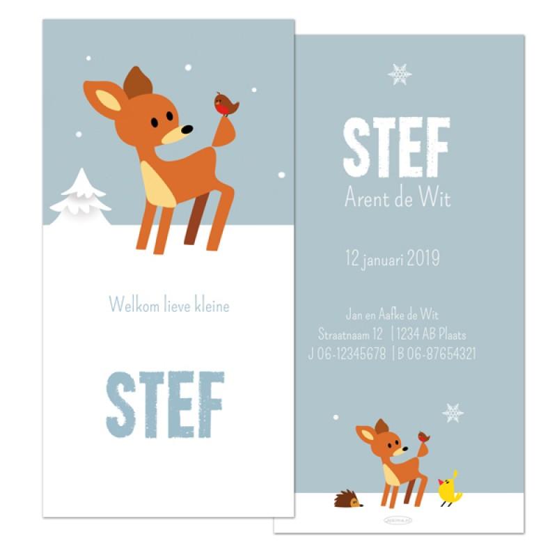 Geboortekaartje Hert in sneeuw
