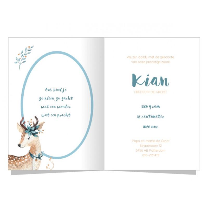 Geboortekaartje Hertje en blauwe takjes