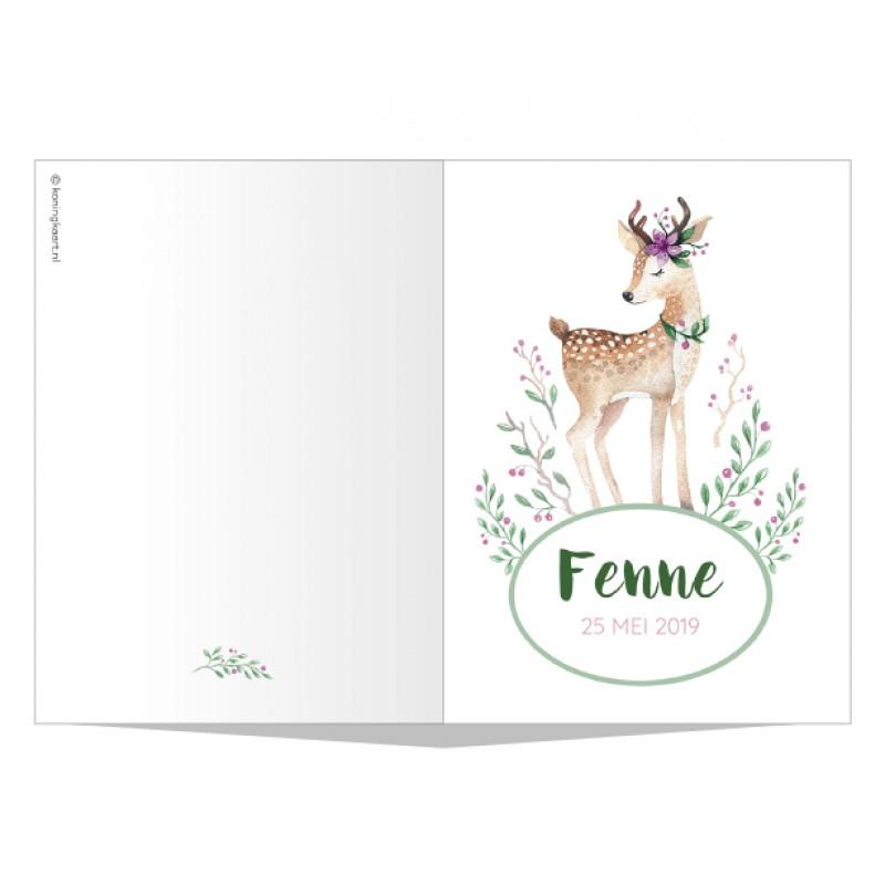 Geboortekaartje Hertje met groene takjes
