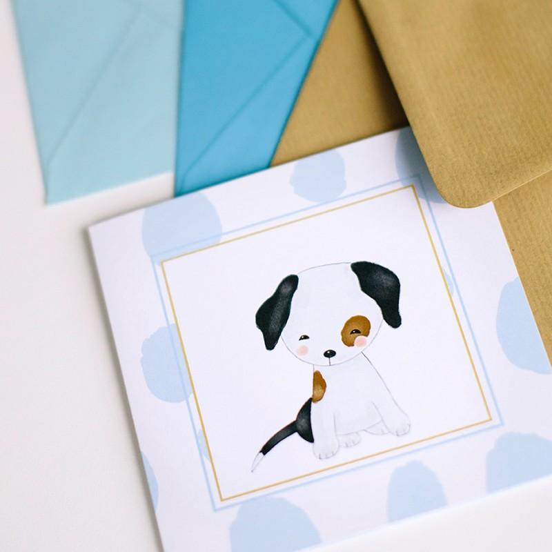 Geboortekaartje Hondje blauw bollen