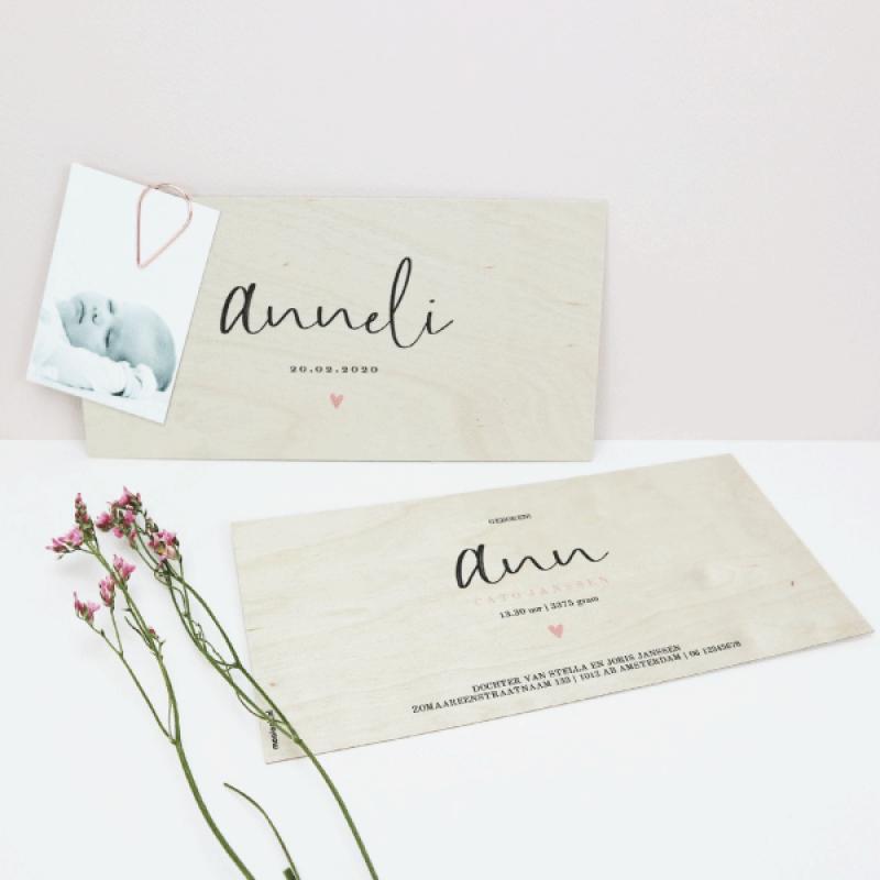 Geboortekaartje hout Anneli