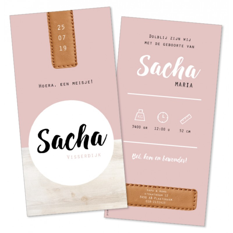 Geboortekaartje Hout met roze en label