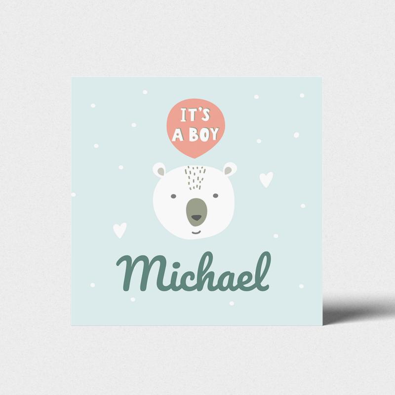 Geboortekaartje Ijsbeer it's a boy