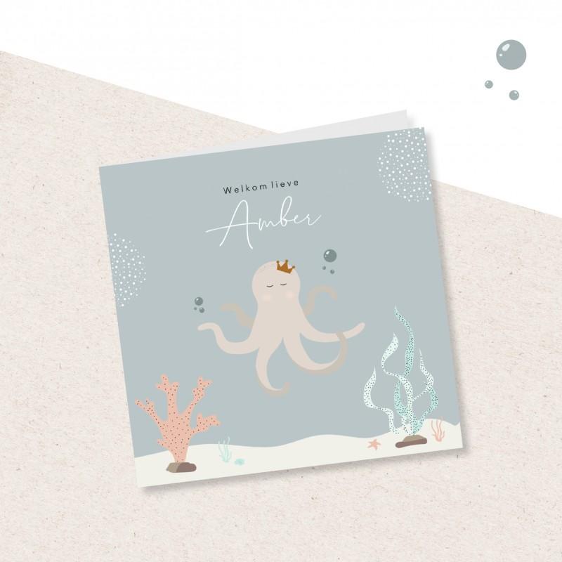 Geboortekaartje Inktvis en onderwater plan