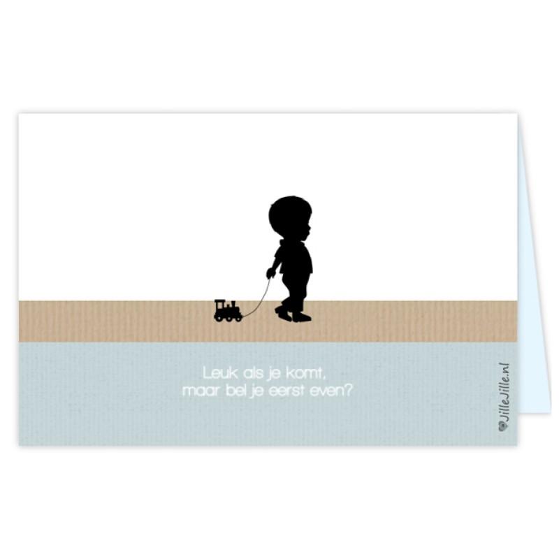 Geboortekaartje jongenskaart silhouet