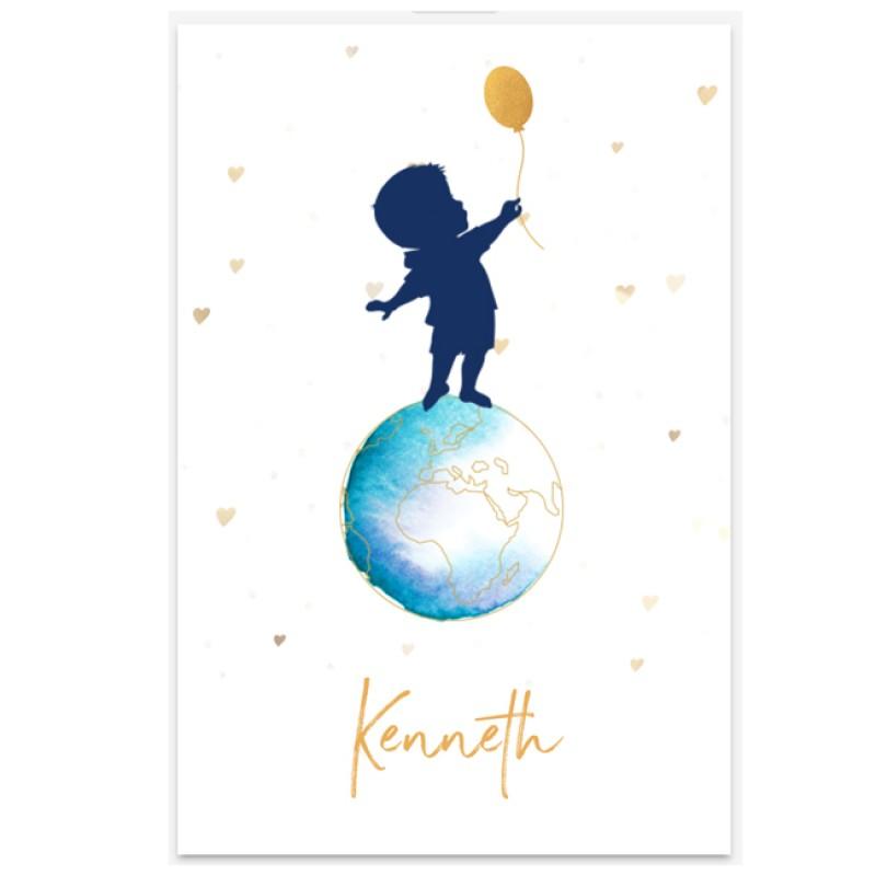 Geboortekaartje Jongenskaartje met aarde
